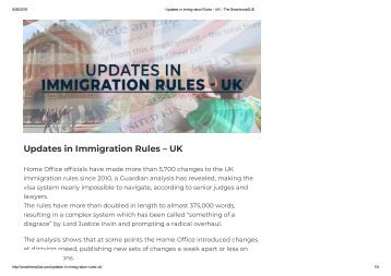 Updates in Immigration Rules - UK - The Smartmove2UK