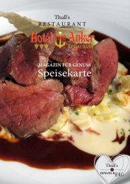 Speisekarte Hotel zum Anker - Herbst 2018