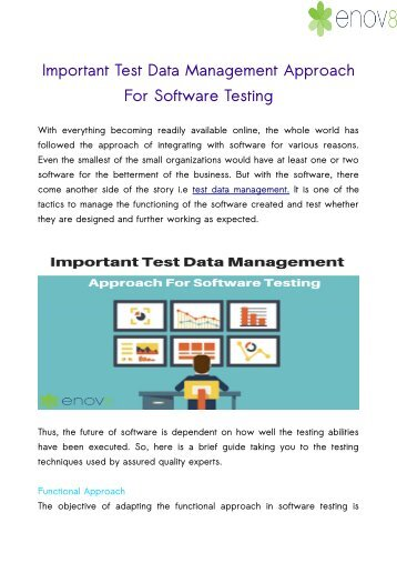 Important Test Data Management Approach For Software Testing