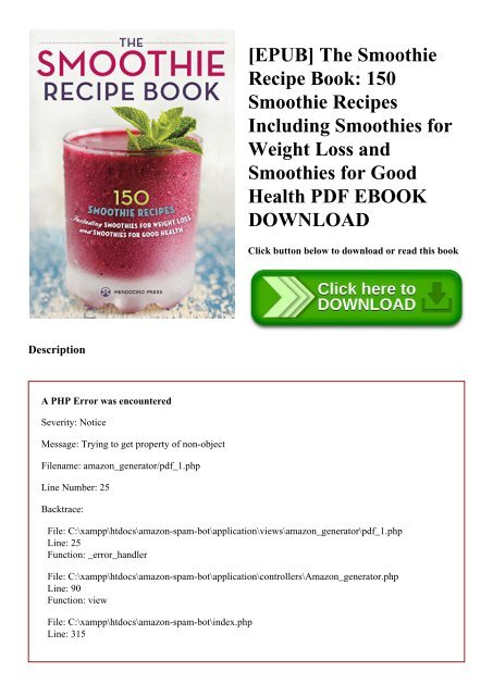 Epub The Smoothie Recipe Book 150 Smoothie Recipes Including Smoothies For Weight Loss And Smoothies For
