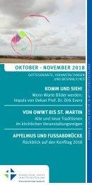 Veranstaltungsprogramm des Evangelischen Kirchenkreises Halle-Saalkreis für Oktober und November 2018