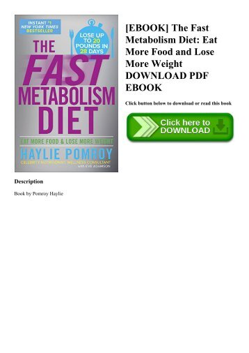 READ [EBOOK] The Fast Metabolism Diet Eat More Food and Lose More Weight DOWNLOAD PDF EBOOK
