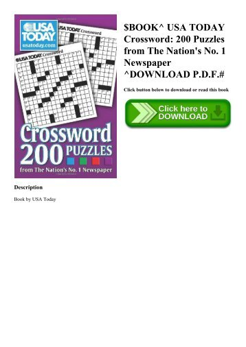$BOOK^ USA TODAY Crossword 200 Puzzles from The Nation's No. 1 Newspaper ^DOWNLOAD P.D.F.#