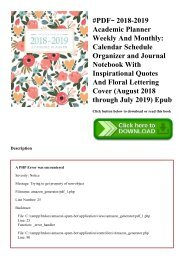 #PDF~ 2018-2019 Academic Planner Weekly And Monthly Calendar Schedule Organizer and Journal Notebook With Inspirational Quotes And Floral Lettering Cover (August 2018 through July 2019) Epub