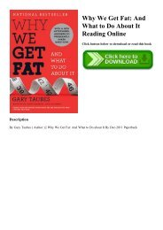 EBOOK Why We Get Fat And What to Do About It Reading Online