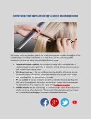 Consider the qualities of a good hairdresser