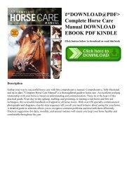 #DOWNLOAD@PDF Complete Horse Care Manual DOWNLOAD EBOOK PDF KINDLE