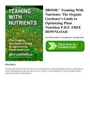 $BOOK^ Teaming With Nutrients The Organic Gardener's Guide to Optimizing Plant Nutrition P.D.F. FREE DOWNLOAD