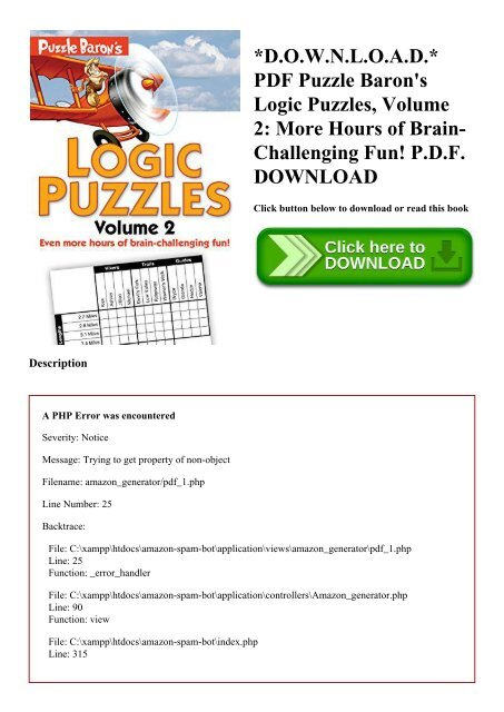 D O W N L O A D  PDF Puzzle Baron's Logic Puzzles Volume 2 More