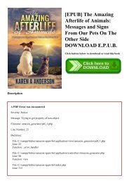 [EPUB] The Amazing Afterlife of Animals Messages and Signs From Our Pets On The Other Side DOWNLOAD E.P.U.B.