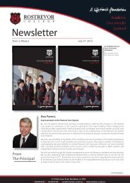 From The Principal - Rostrevor College