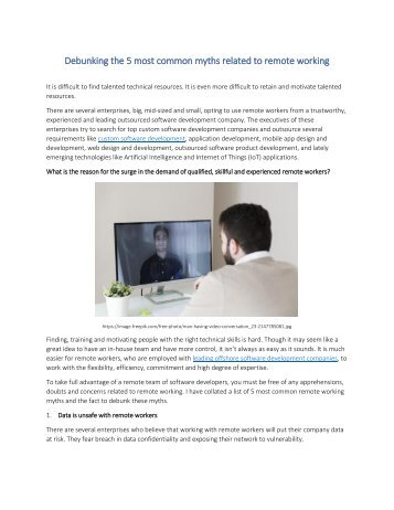 Debunking the 5 most common myths related to remote working
