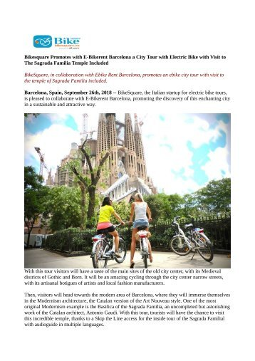 Bikesquare Promotes with E-Bikerent Barcelona a City Tour with Electric Bike with Visit to The Sagrada Familia Temple Included