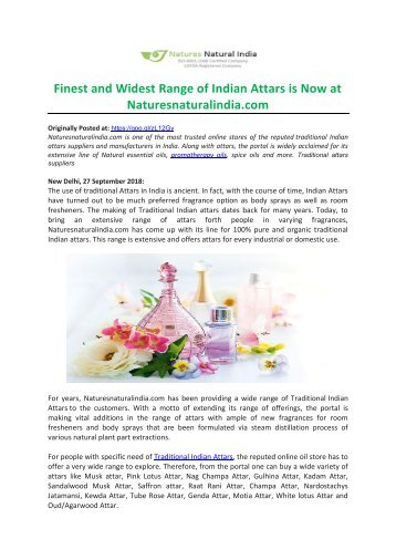 Finest and Widest Range of Indian Attars is Now at Naturesnaturalindia.com-converted