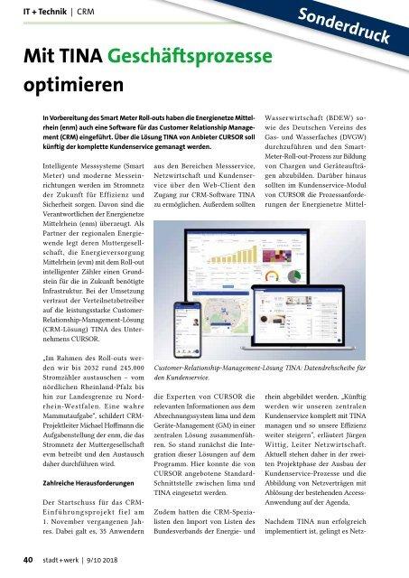 Energienetze Mittelrhein, Mit TINA Geschäftsprozesse optimieren, stadt+werk 9/10 2018
