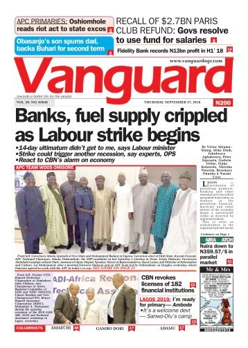 27092018 - Banks, fuel supply crippled as Labour strike begins