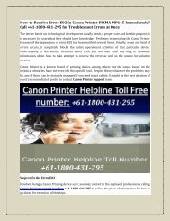 How to Resolve Error E02 in Canon Printer PIXMA MP145 Immediately? Call +61-1800-431-295 for Troubleshoot Errors at Once