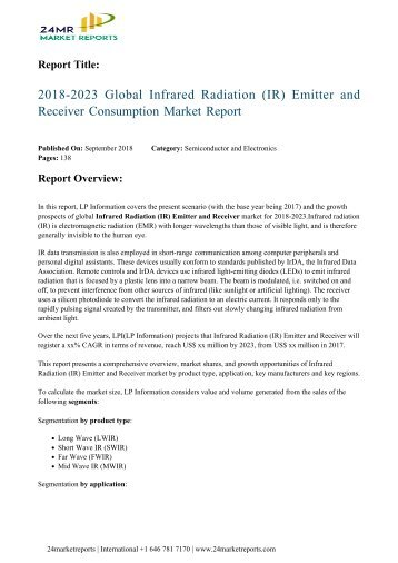 2018-2023 Global Infrared Radiation (IR) Emitter