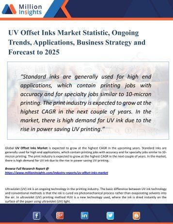 UV Offset Inks Market Analysis by Product Types, Marketing Channel Development Trend, Market Effect Factors Analysis by 2025