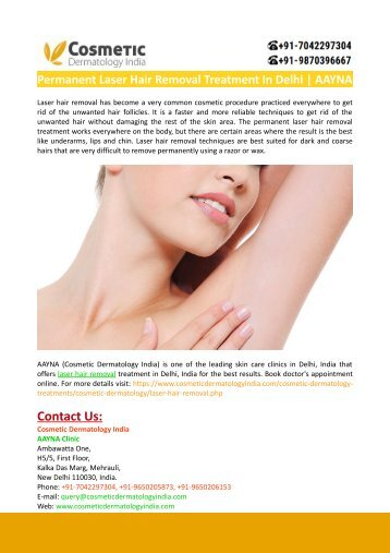 Permanent Laser Hair Removal Treatment In Delhi-AAYNA