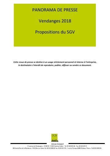 1er page Panorama de presse Spécial SGV, Vendanges 2018 Propositions du SGV