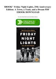 $BOOK^ Friday Night Lights  25th Anniversary Edition A Town  a Team  and a Dream PDF EBOOK DOWNLOAD