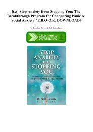 [txt] Stop Anxiety from Stopping You The Breakthrough Program for Conquering Panic & Social Anxiety ^E.B.O.O.K. DOWNLOAD#