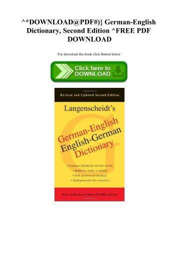 Langenscheidt German English Dictionary Pdf