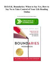 READ B.O.O.K. Boundaries When to Say Yes  How to Say No to Take Control of Your Life Reading Online