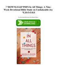 !^DOWNLOADPDF$ In All Things A Nine-Week Devotional Bible Study on Unshakeable Joy E.B.O.O.K$