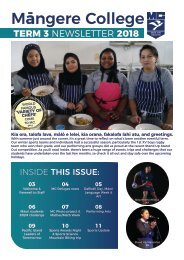 Mangere College Term 3 Newsletter 2018