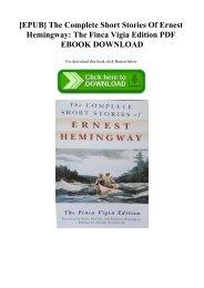 [EPUB] The Complete Short Stories Of Ernest Hemingway The Finca Vigia Edition PDF EBOOK DOWNLOAD
