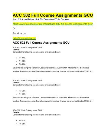 ACC 502 Full Course Assignments GCU