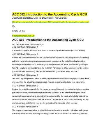 ACC 502 Introduction to the Accounting Cycle GCU
