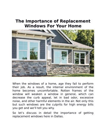 The Importance of Replacement Windows for Your Home
