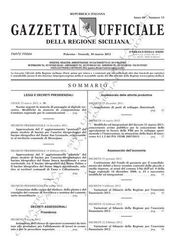 N. 13-Venerdì 30 Marzo 2012 (PDF) - Gazzetta Ufficiale della ...