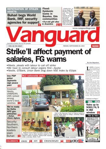 28092018 - Strike'll affect payment of salaries, FG warns