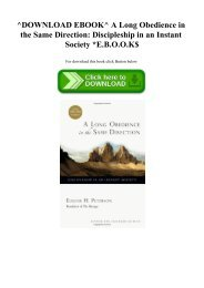 ^DOWNLOAD EBOOK^ A Long Obedience in the Same Direction Discipleship in an Instant Society E.B.O.O.K$