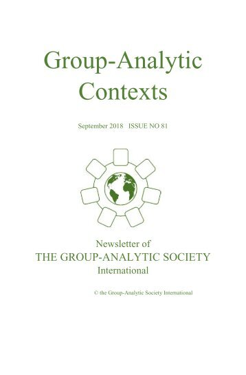 Group-Analytic Contexts, Issue 81, September 2018