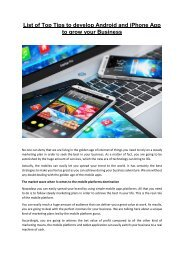 List of top tips to develop Android and iPhone apps to grow your business