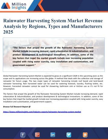 Rainwater Harvesting System Market Revenue Analysis by Regions, Types and Manufacturers 2025