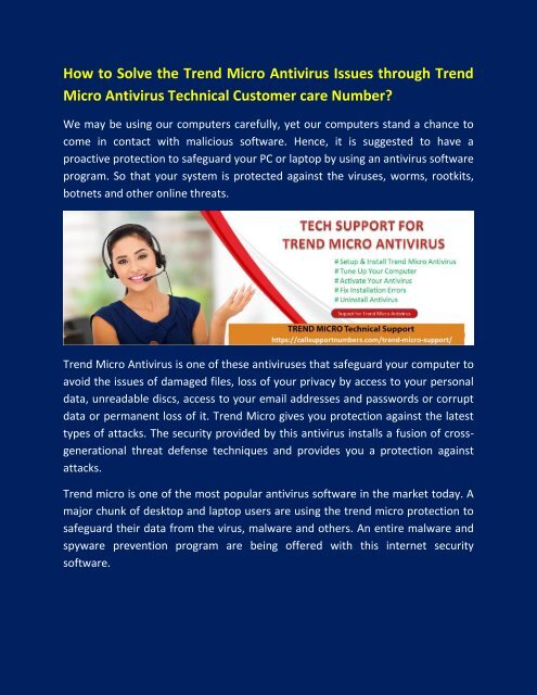 Get Trend Micro Antivirus Customer Support Number