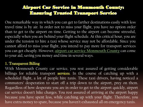 Airport Car Service in Monmouth County Ensuring Trusted Transport Service-converted