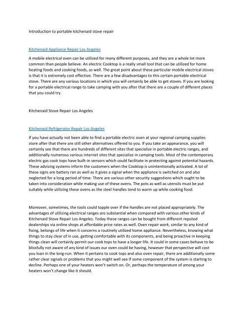 Introduction to portable kitchenaid stove_repair