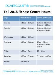 Dovercourt Fall 2018 Fitness Centre Hours