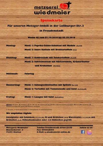 Speisekarte Loßburgerstr.  Kw 40