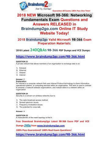 [2018-September-Version]New 98-366 PDF and VCE Dumps 240Q&As Free Share(Q23-Q33)