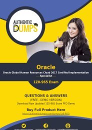 AuthenticDumps - Oracle 1Z0-965 Dumps PDF Prep by Oracle Cloud Certified Expert