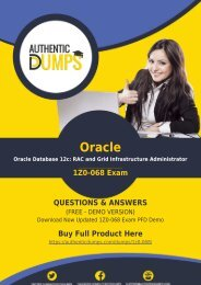 AuthenticDumps - Oracle 1Z0-068 Dumps PDF Prep by Oracle Database 12c Certified Expert
