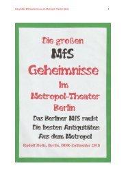 Die großen MfS-Geheimnisse im Metropol-Theater Berlin